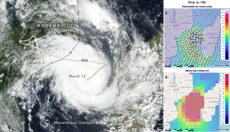 Satellite image of Cyclone Idai in March 2019 (Source: https://earthobservatory.nasa.gov/images/144667/tropical-cyclone-idai-aims-at-mozambique) and images from the daily FEWS-INAM coastal bulletins of wind speed and wave heights.